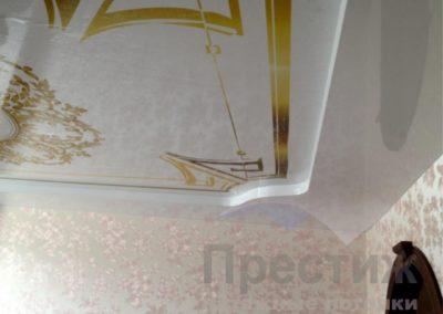 Двухуровневый потолок с фотопечатью глянец классика